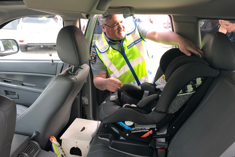 The Town Of Mount Royals Public Security Department Completed Their Visits Local Daycares And CPEs Where They Provided A Free Child Car Seat